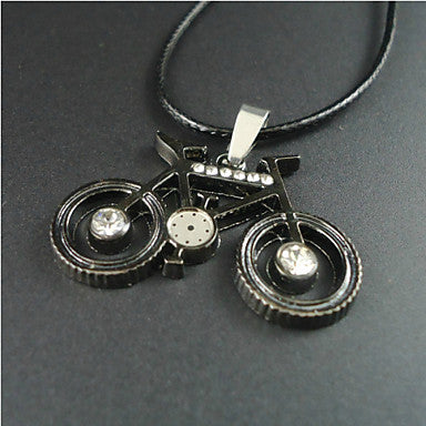 Fashion Bicycle Black Leather Pendant Necklace (1 Pc)