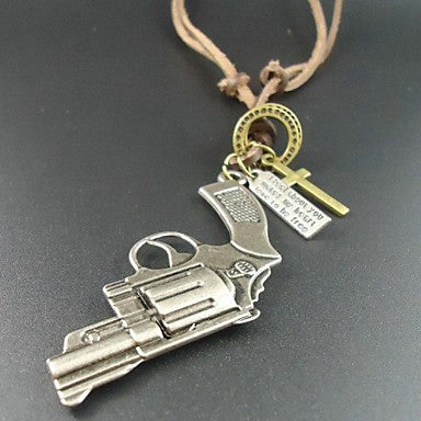 Long Fashion Vintage Alloy Pistol Pendant Genuine Leather Men Necklace
