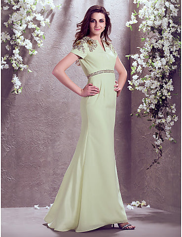 A-line V-neck Sweep/Brush Train Chiffon Wedding Dress (929886)