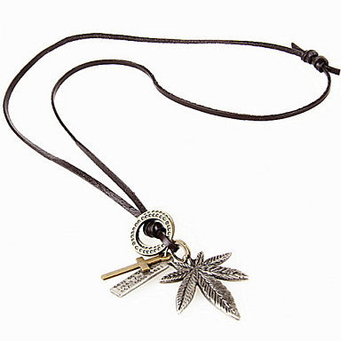 Fashion (Maple Leaf) Brown Leather Pendant Necklace(Silver) (1 Pc)