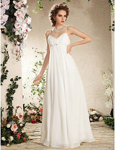 Sheath/Column Spaghetti Straps Floor-length Chiffon Wedding Dress