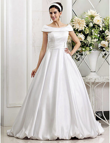 A-line Princess Off-the-shoulder Sweep/Brush Train Crystal Detailing Satin Wedding Dress
