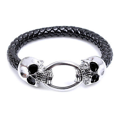 Fashion Euramerican Style Men Skull Snake Twine Black Alloy Leather Chain&Link Bracelet(1 Pc)