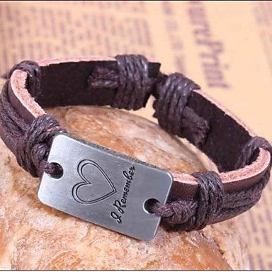 Fashion 24cm Men's Brown Leather Bracelet()(1 Pc)