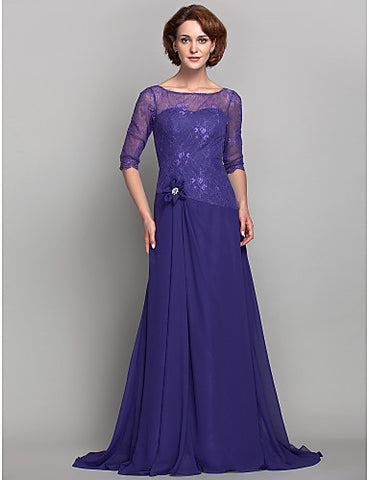 A-line Bateau Chiffon And Lace Mother of the Bride Dress