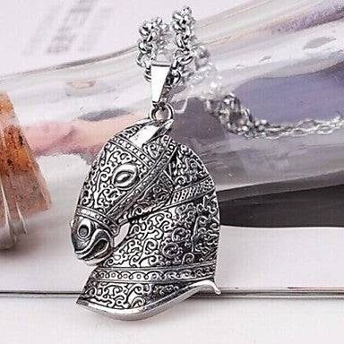 European Horse (Animal) Silver Alloy Pendant Necklace(Silver) (1 Pc)