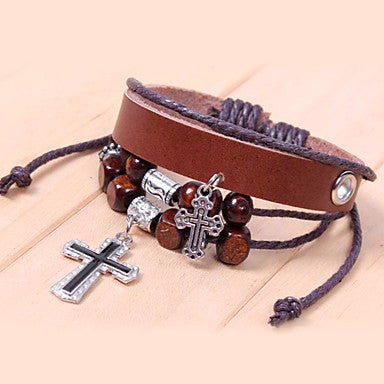 Vintage Cross 22cm Unisex Coffee Alloy Leather Bracelet(1 Pc)