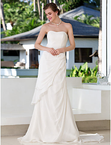 Sheath/Column Strapless Sweep/Brush Train Ruffles Chiffon Wedding Dress