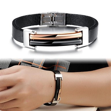 Cool Plating Titanium Steel Leather Men's Bracelet