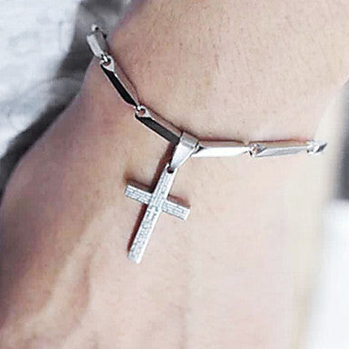 Bible Jesus Cross 20cm WoMen's Silver Titanium Steel Tennis Bracelet(1 Pc)