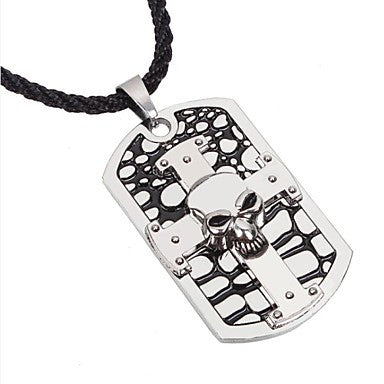 Punk Cross and Skull () Black Alloy Pendant Necklace(Silver) (1 Pc)