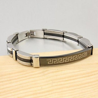 Men's Fashion Personality Titanium Steel Black Double Wall Figure Bracelets