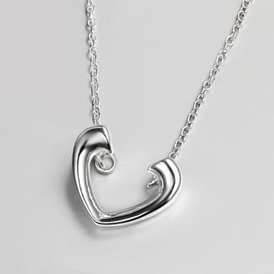 Fashion (Heart Shape Pendant) Silver Silver Plated Pendant Necklace For Men(1 Pc)