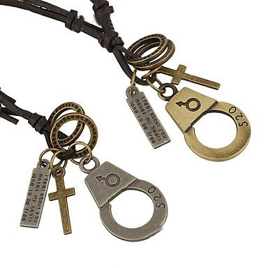 Unisex New Fashion Lovers Handcuffs Leather Necklace