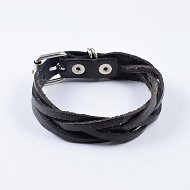 Fashion Men's Black Weave PU Leather Bracelets