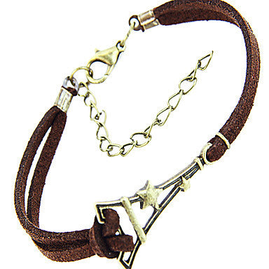 Fashion Eiffel Tower Shape Leather Men's Charm Bracelet(1 Pc)
