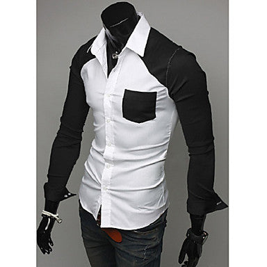 Men's Spring Contrast Color Casual Shirt