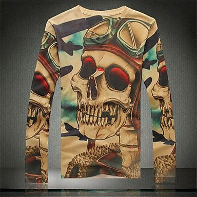 Men's Casual Fashion High-Grade 3D Print Long Sleeve T-Shirt