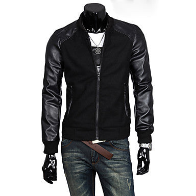 Men's Stand Collor Stitching Jacket