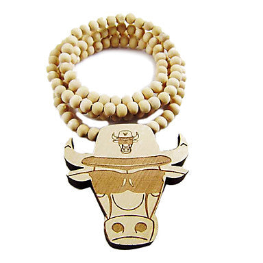 Bull Head Pattern Wooden Necklace