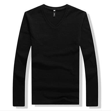 Men's V Neck Solid Color Long Sleeve Thicken T-shirts(More Colors)