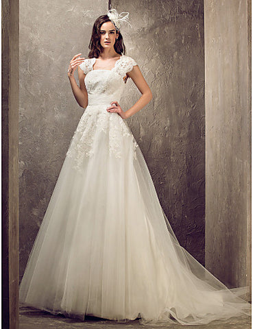 Wedding Dress A Line Sweep Brush Train Tulle With Lace Queen Anne Neckline and Beading Appliques