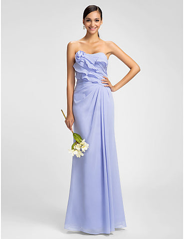 Sheath/Column Strapless Floor-length Chiffon Bridesmaid Dress