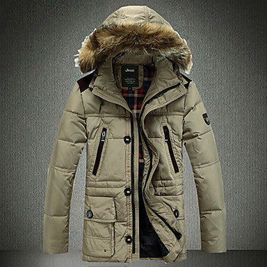 Men's Western Style Detachable Fur Collar Coat