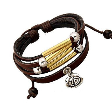 Fashion Flower Leather Beaded Bracelet