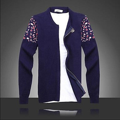 Men's Chinese Wind Knitting Crewneck V-neck Cardigan Sweater