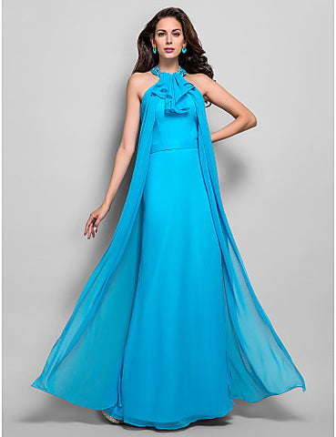 Sheath/Column High Neck Floor-length Beading Chiffon Evening/Prom Dress