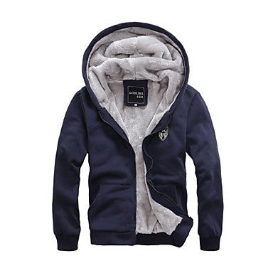 Men's Autumn and Winter New With Velvet Thickening Hoodie Coat Zipper Cardigan