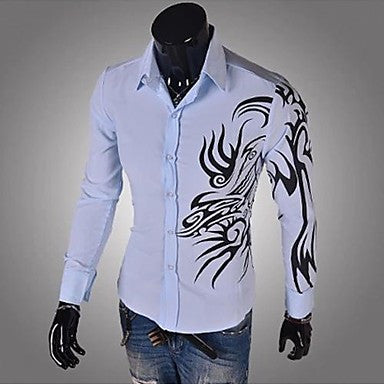 Men's Slim Dragon Print Long Sleeve Shirt A