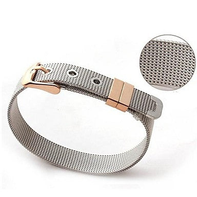 Men's Fashion Personality Titanium Steel Mesh Belt Shape Long Bracelets