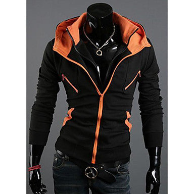 Men's Two Pieces Like Double Zipper Hoodie Coat