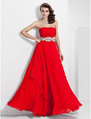 A-line Strapless Floor-length Chiffon Evening/Prom Dress