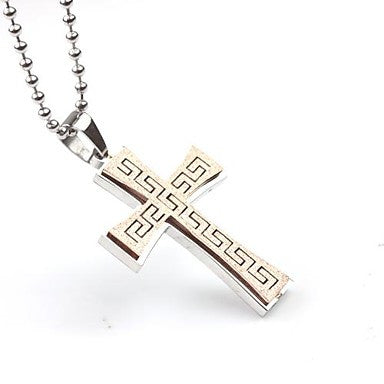 Mumar Classic Personalized Cross Shaped Stainless Steel Jewelry Pendant Necklace with 60 cm Chain