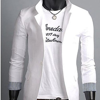 Men's Tailor Collar Casual Solid Color Long Sleeve Blazer Outwear