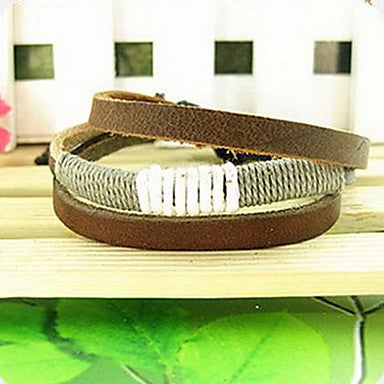 Fashion Punk Classic 20cm Men's Brown Leather Leather Bracelet(Random Color)(1 Pc)