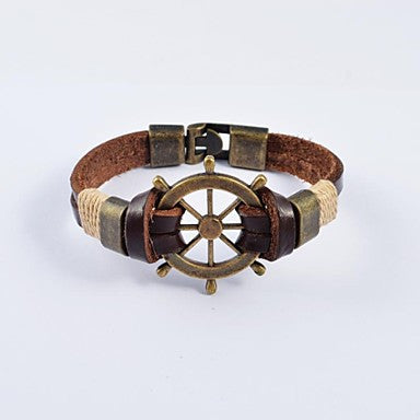 European Men's Bronze Plated Stainless Steel Tankers Leather Bracelets