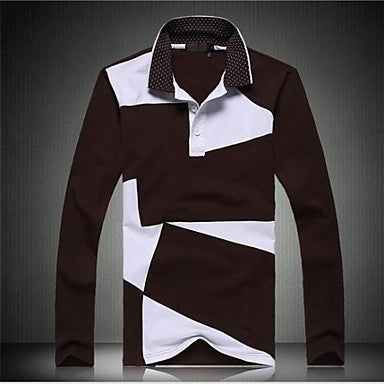 Men's High Quality Brand Fashion Long Sleeve 100% Cotton Polo shirt