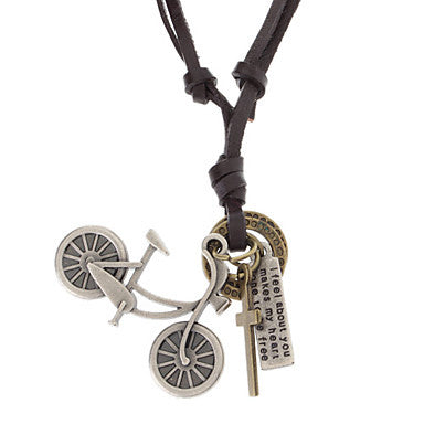 Unisex Bicycle Cross Leather Pendant Adjustable Necklace