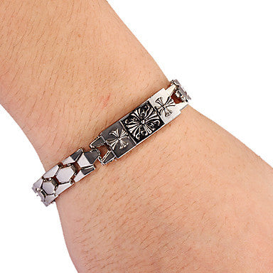 Fashion Three Cross Men's Silver Alloy Tennis Bracelet(1 Pc)