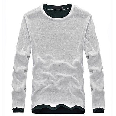 Men's Round Collar Contrast Color Stitching Double Layer Long Sleeve Sweater