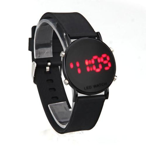 Digital Red LED Black Silicone Band Round Dial Wrist Watch Wristwatch Men Lady