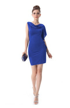 Cowl Asymmetrical Frill Sleeve Pencil Dress