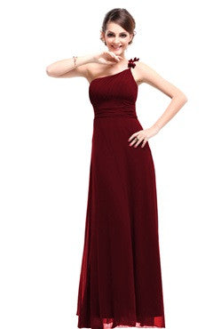 Burgandy One Shoulder Ruched Bust Dress With Bow Detail