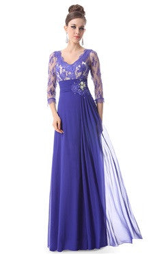 3/4 Sleeve Sheer Lace V Neck Rhinestone Evening Gown