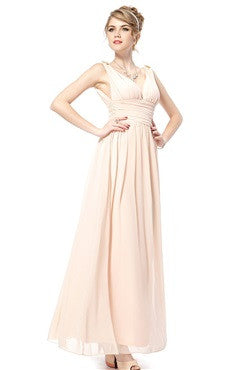 Beige V-Back Ruched Bust & Waistband Chiffon Dress