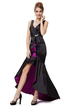 Double V Neck Mermaid Hi-Lo Evening Dress
